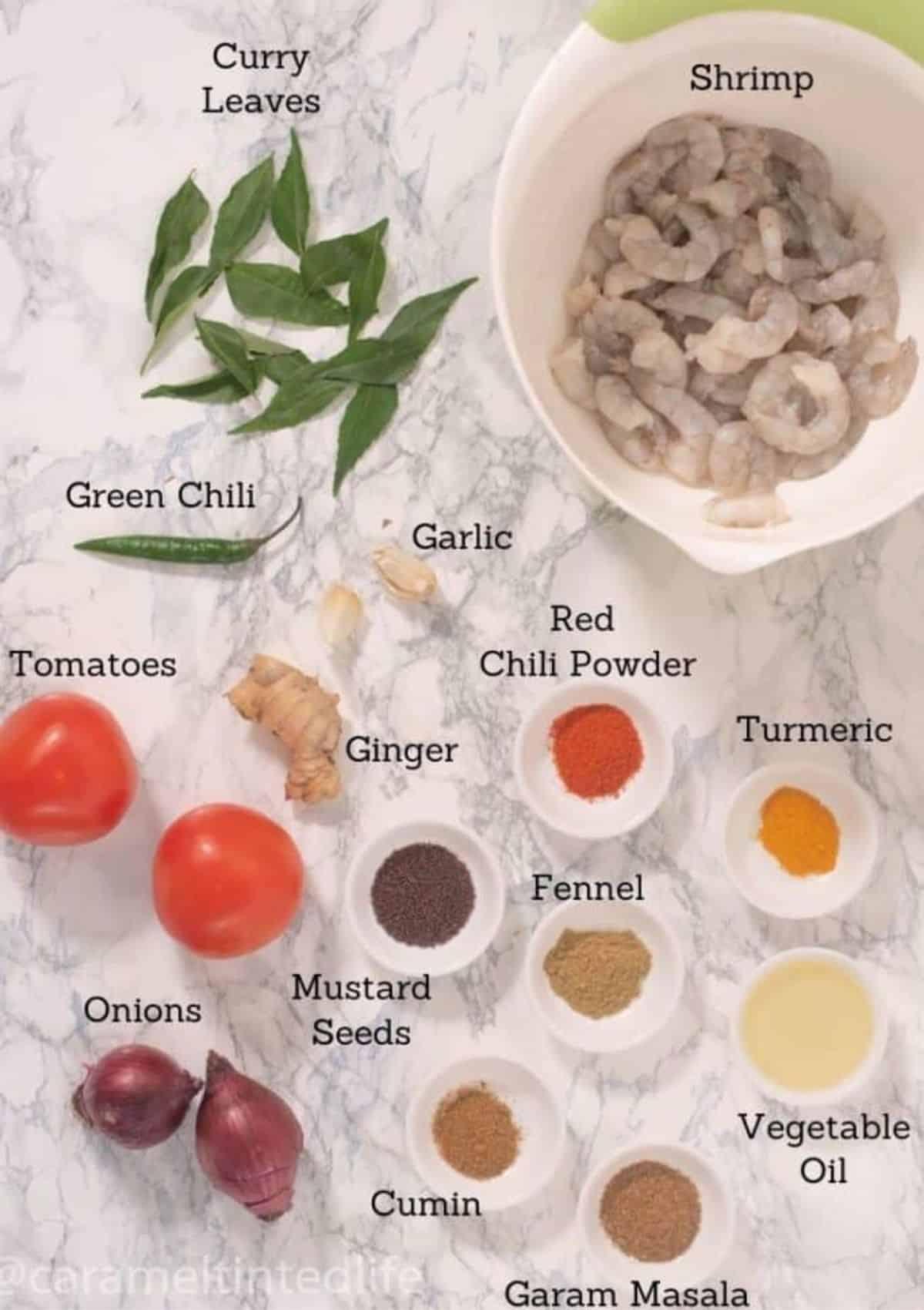Ingredients used to make shrimp masala