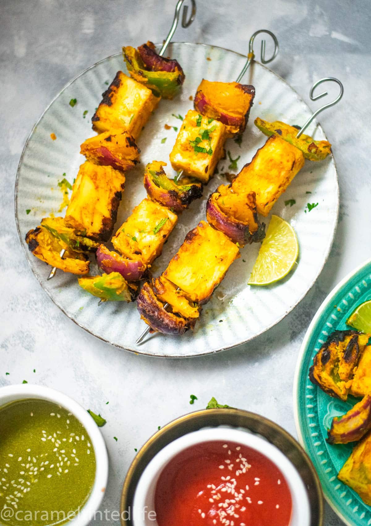 Skewered Paneer Tikka on plate