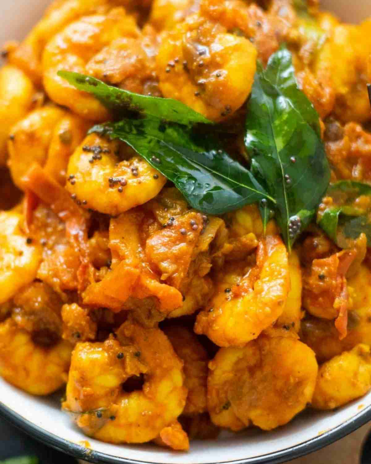 Close-up of shrimp masala in a bowl