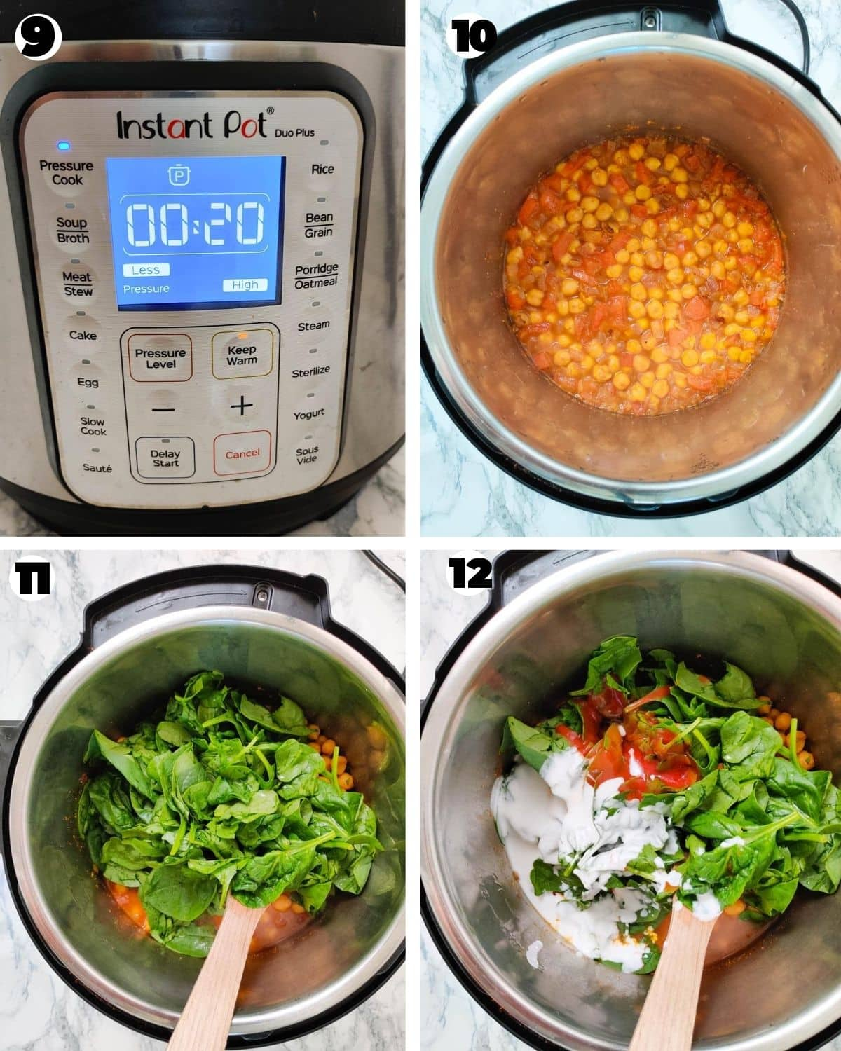 Adding spinach, coconut milk and pomato puree to cooked chickpeas in the Instant Pot