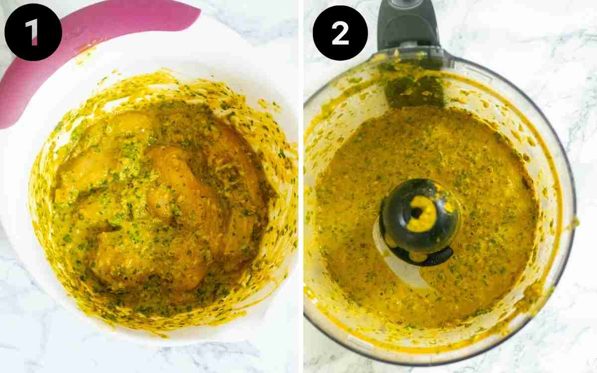 Chicken satay marinade is blended in a food processor and added to chicken breasts for marination