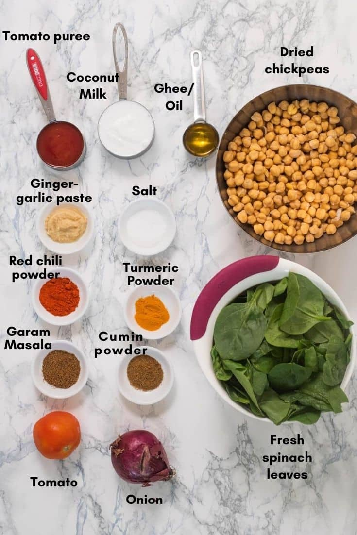 All ingredients used to make chickpea coconut curry