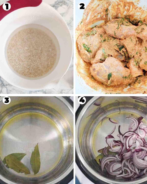 Marinating chicken and sauteeing onions for chicken biryani