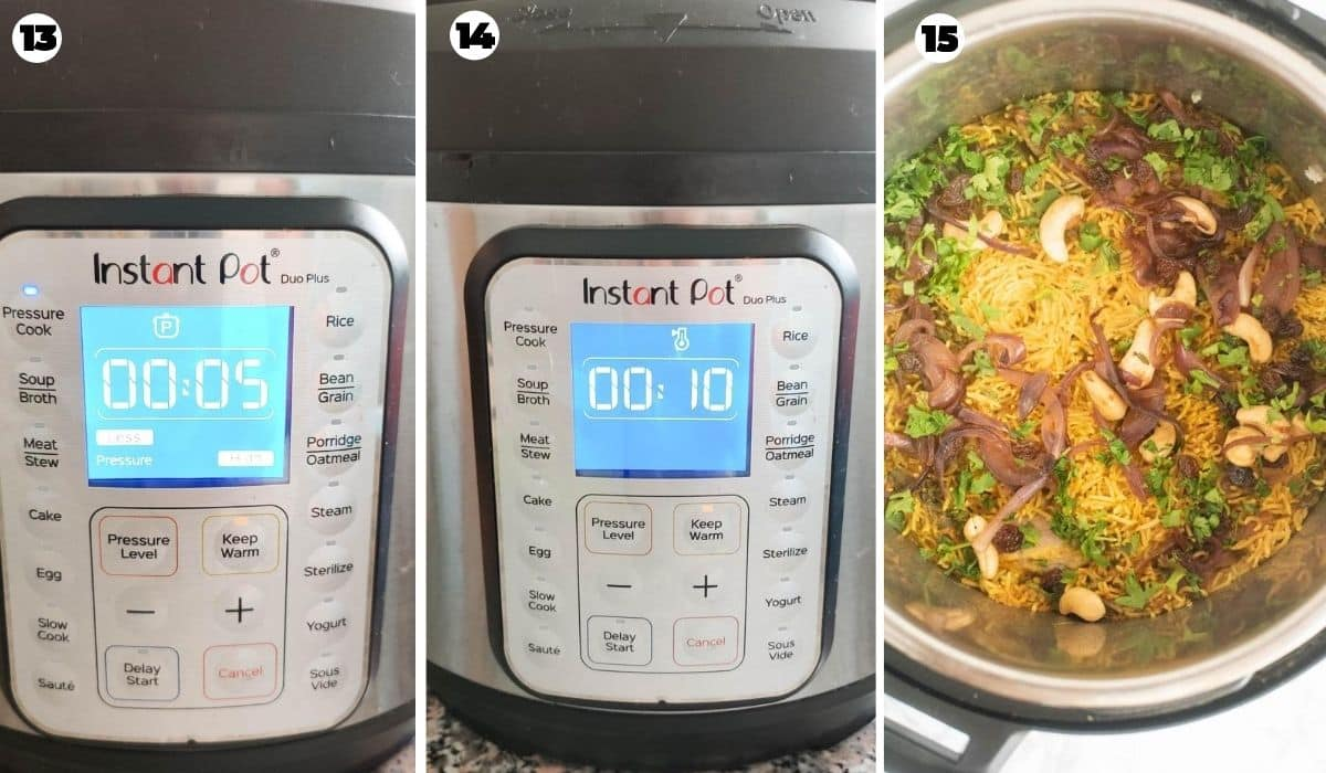Final pressure cooking in the Instant Pot