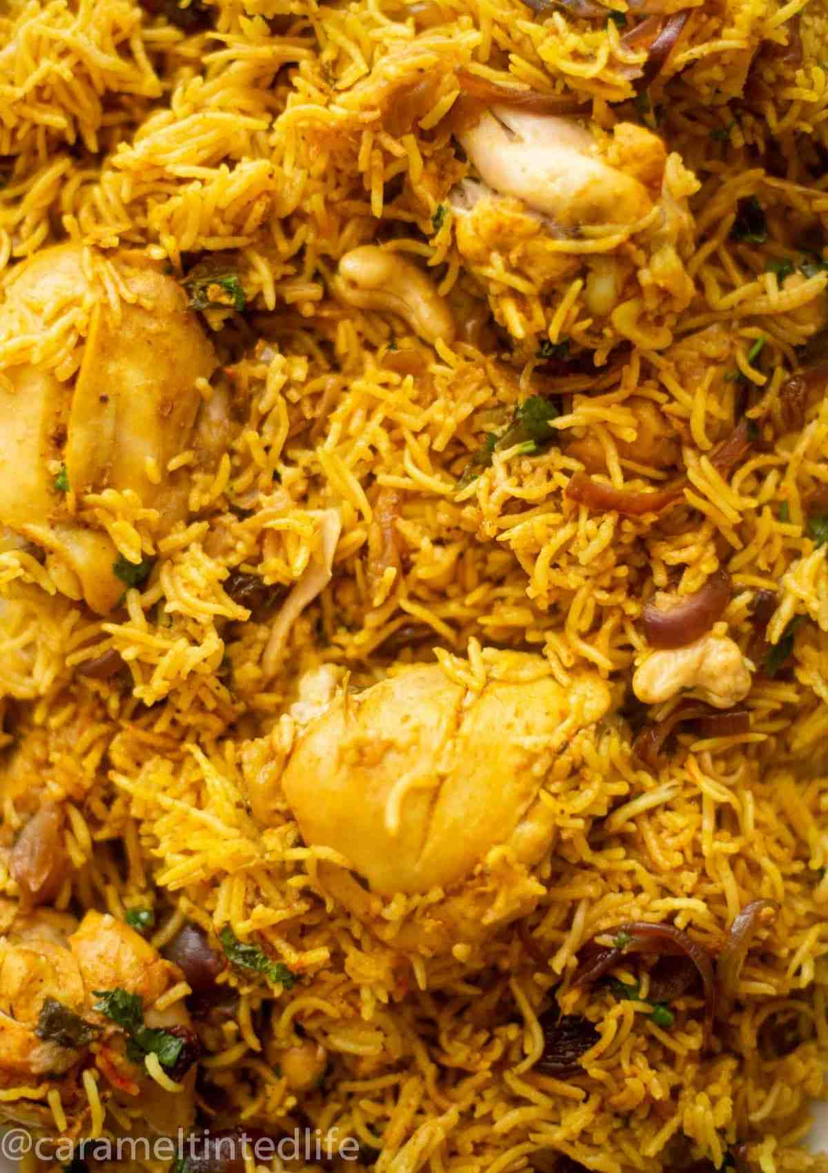 Close-up of chicken biryani