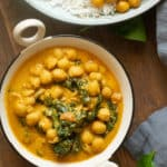 Chickpea coconut curry served in a small bowl