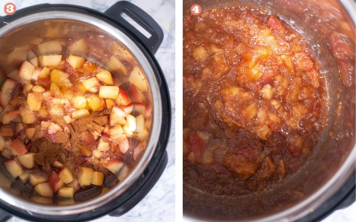 Pressure cooked apples are further cooked with cinnamon powder in the Instant Pot