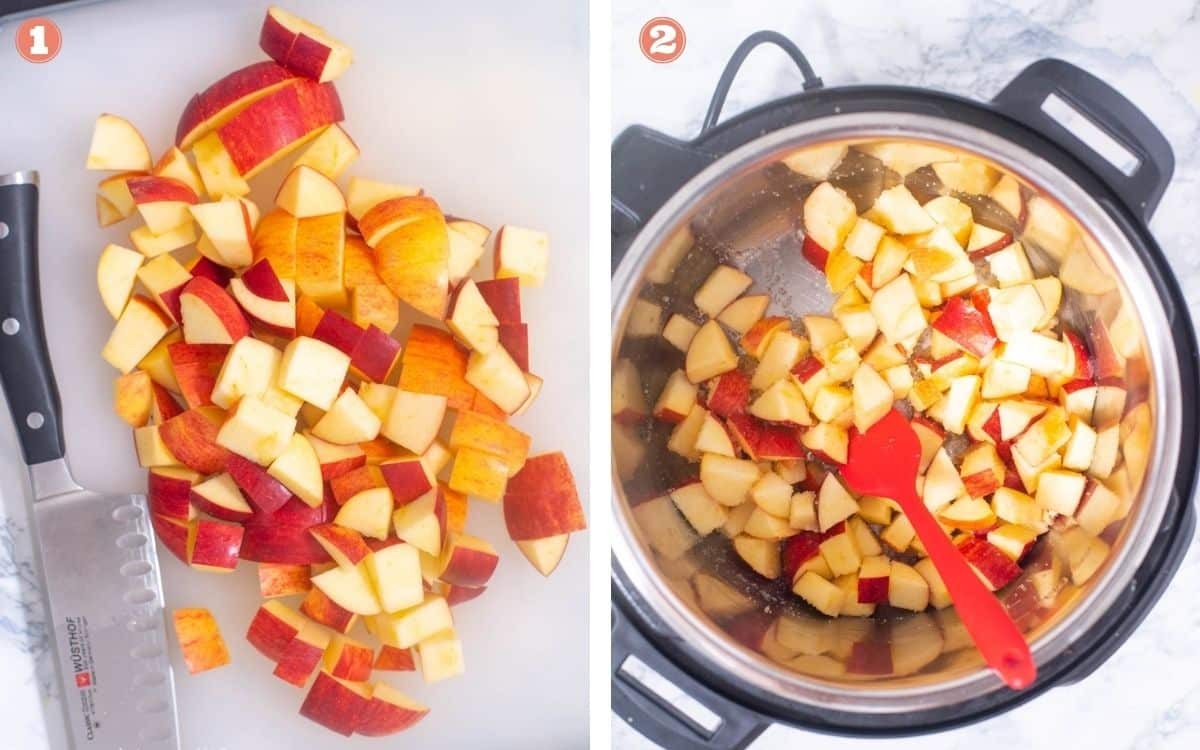 Chopped apples added to Instant Pot with sugar