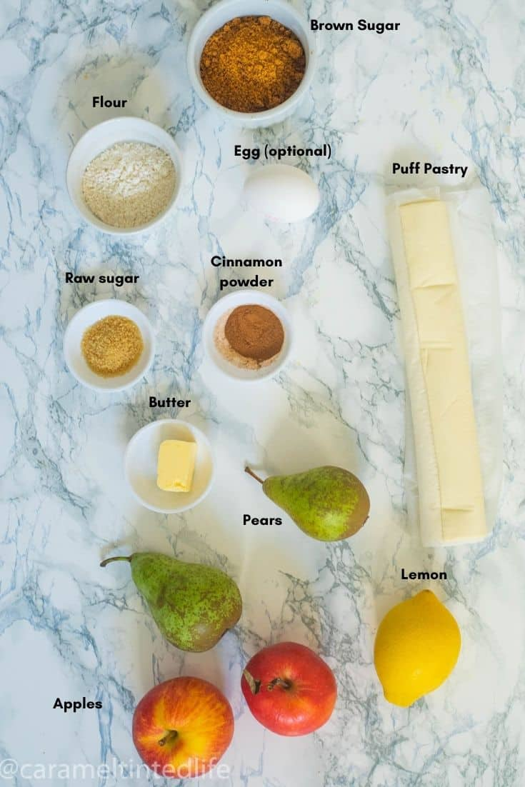 Ingredients used to make apple and pear turnovers