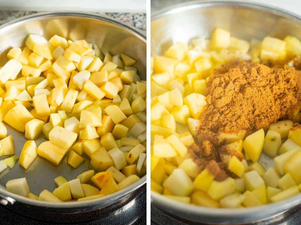 Cooking chopped apples in butter and brown sugar