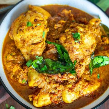 Chettinad chicken curry in a bowl