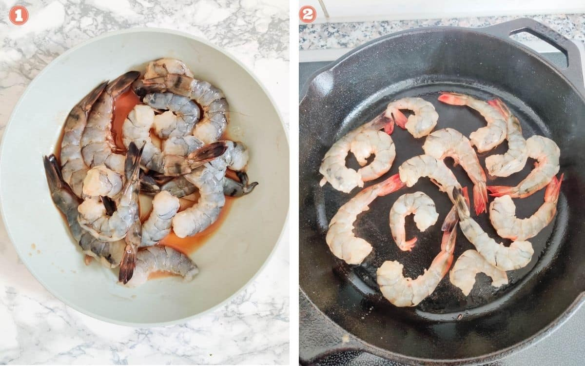 Marinate prawns and cook on cast iron skillet