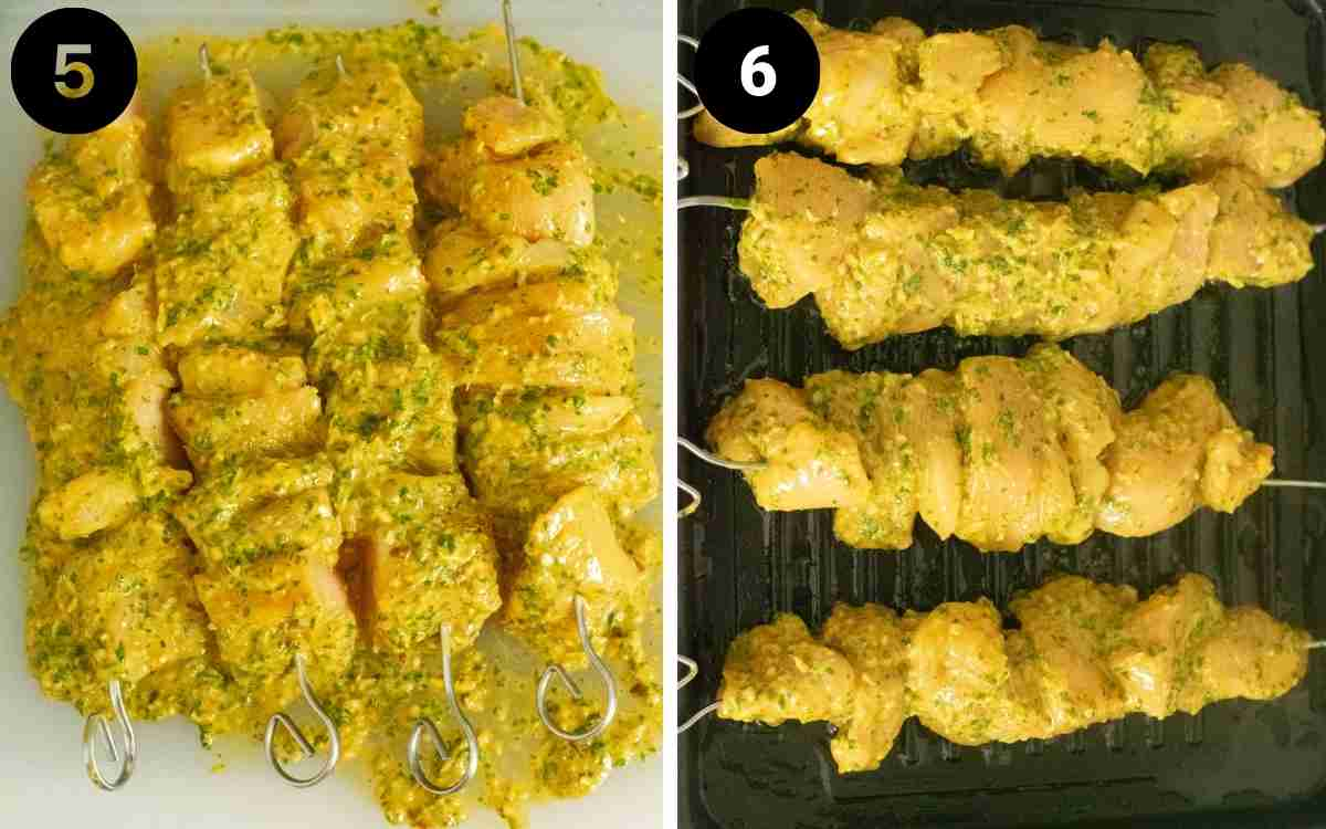collage of images showing marinated and skewered chicken being grilled