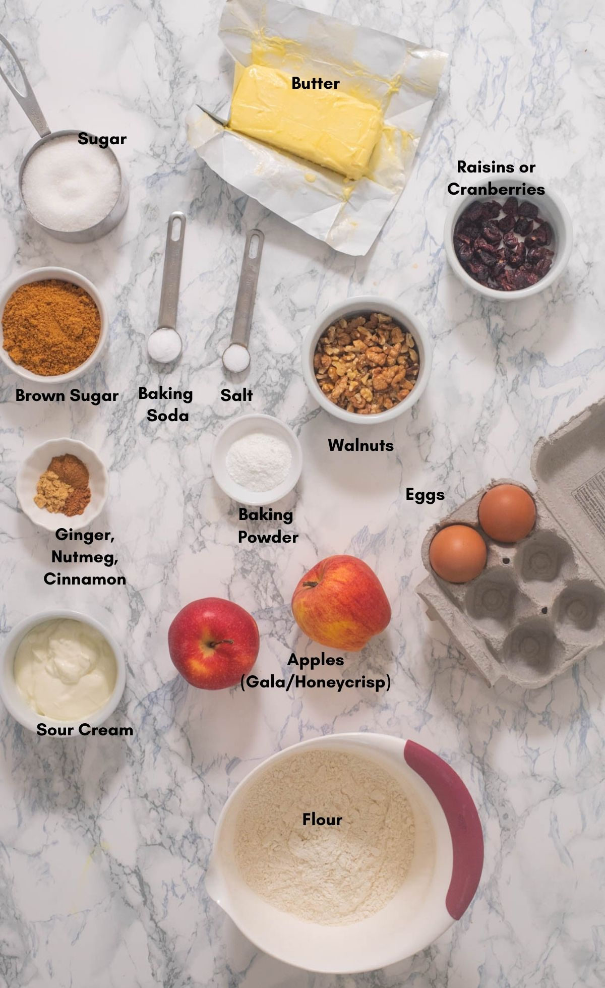 All the ingredients that go into apple bundt cake