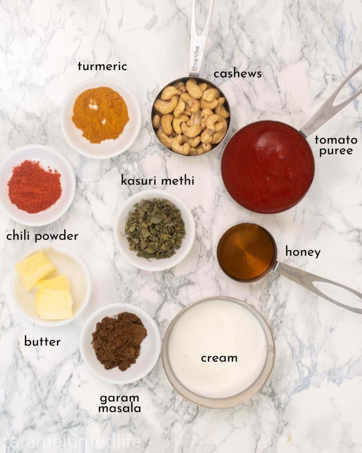 all the ingredients required for making butter chicken sauce
