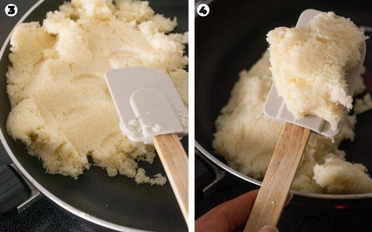 Cooking coconut with condensed milk until it becomes a fudge