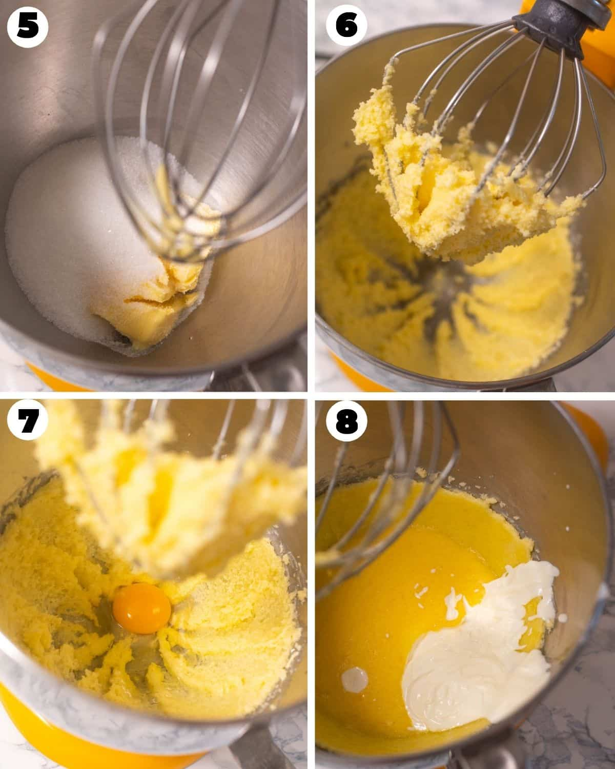 Collage of steps for creaming sugar and butter, adding eggs and sour cream for the batter
