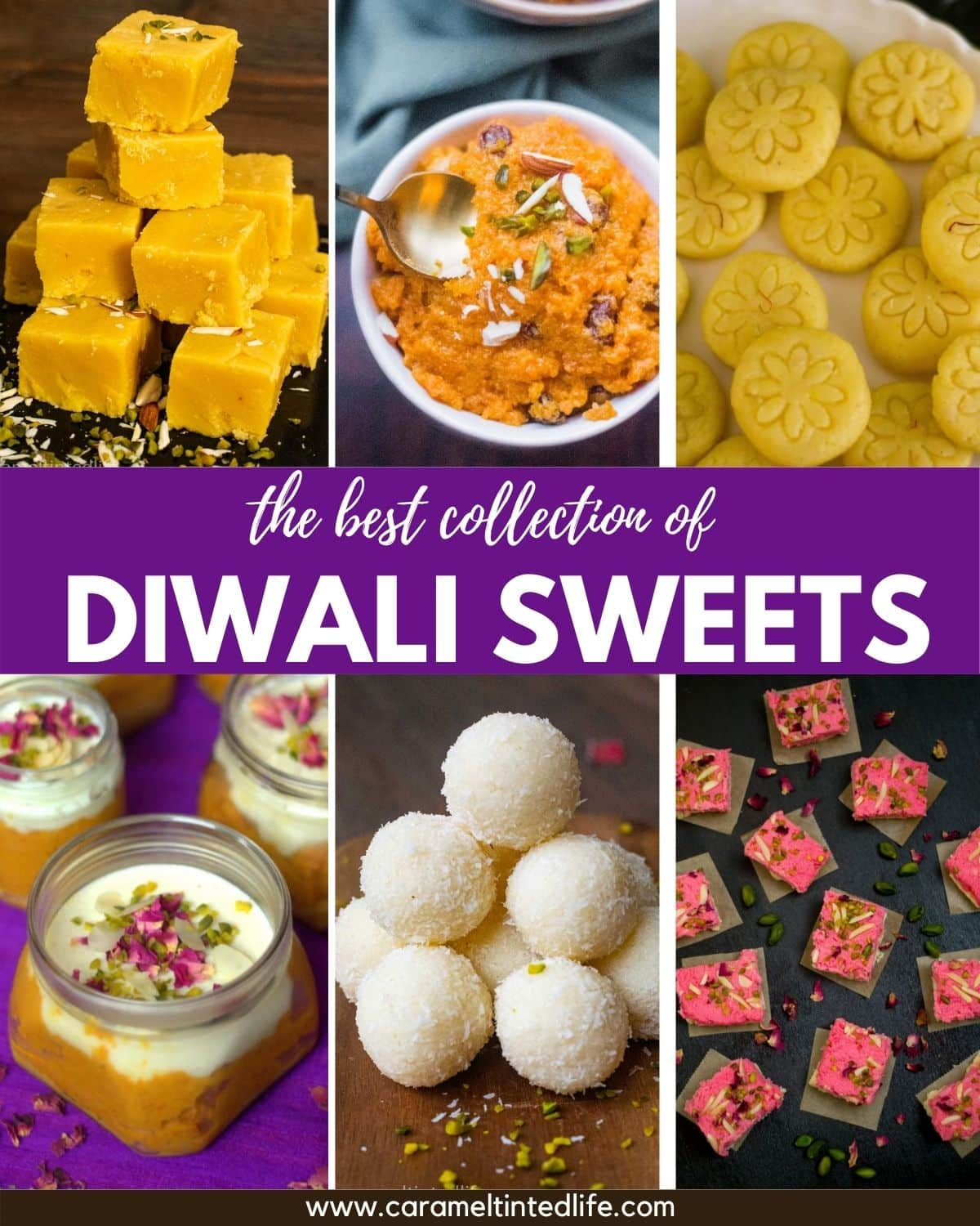 A collage showing a collection of Diwali Sweets recipes