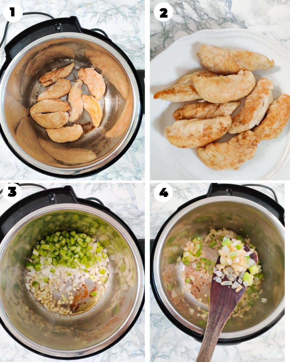 Browing chicken and celery and onions for chicken stew in the Instant Pot