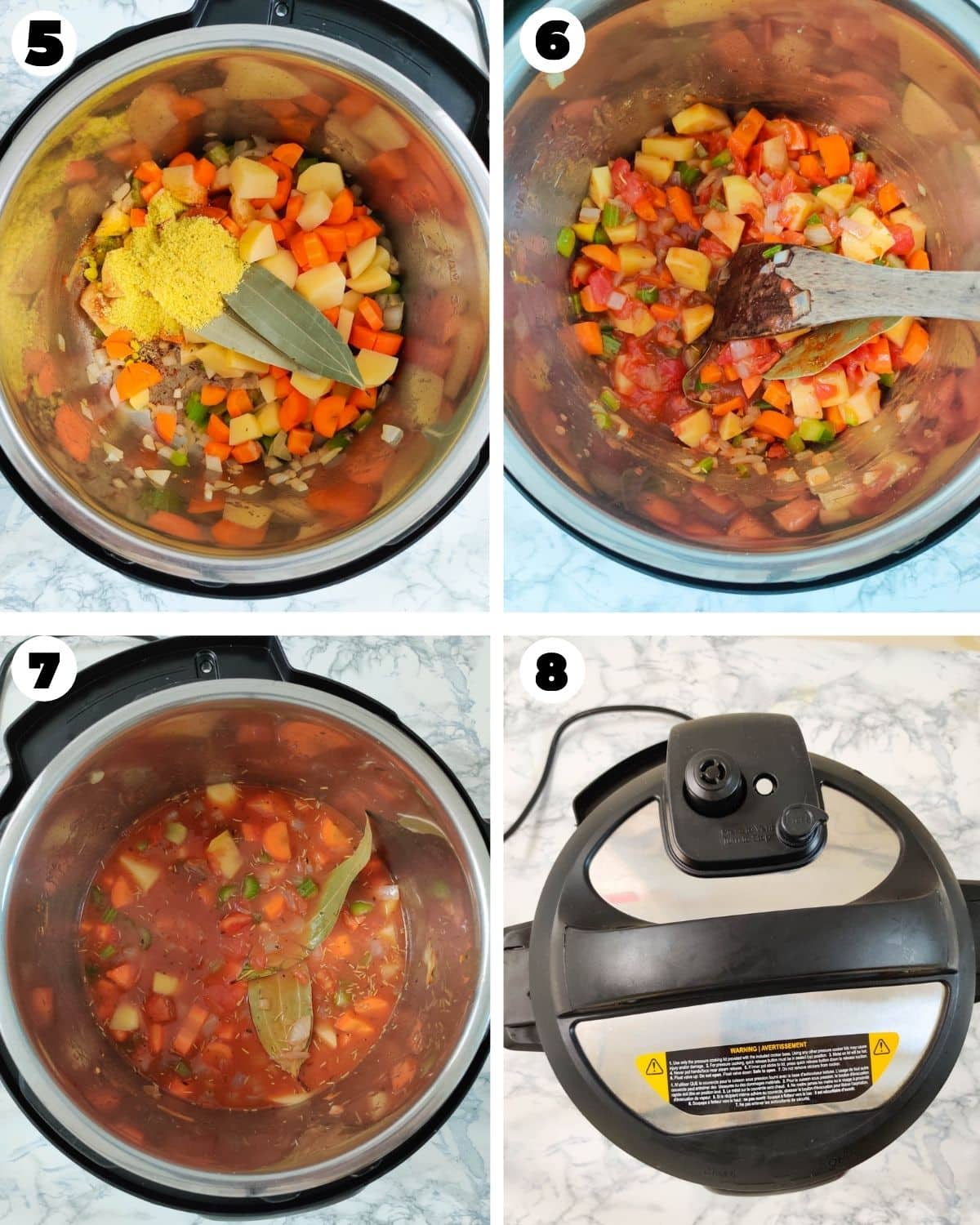 Steps to cook chicken stew in the Instant Pot