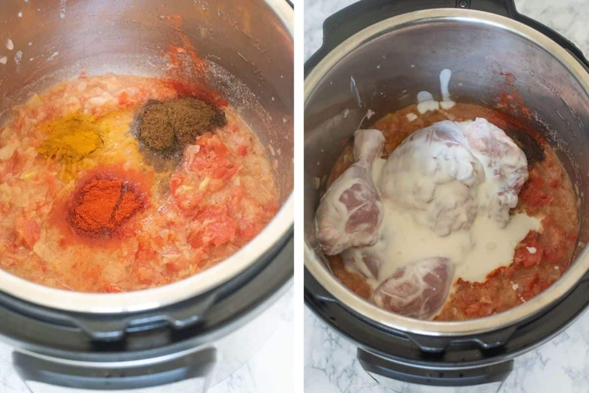 Adding spices and marinated chicken to the Instant Pot