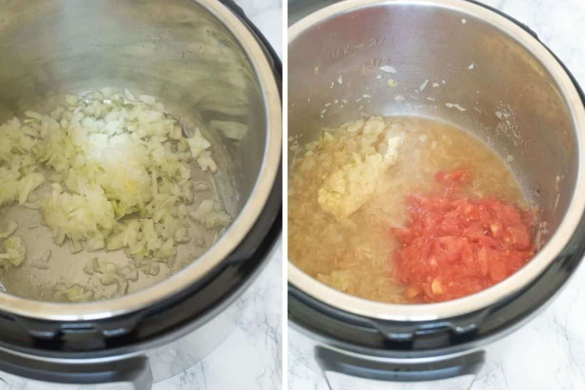 Adding onions and tomatoes to the Instant Pot