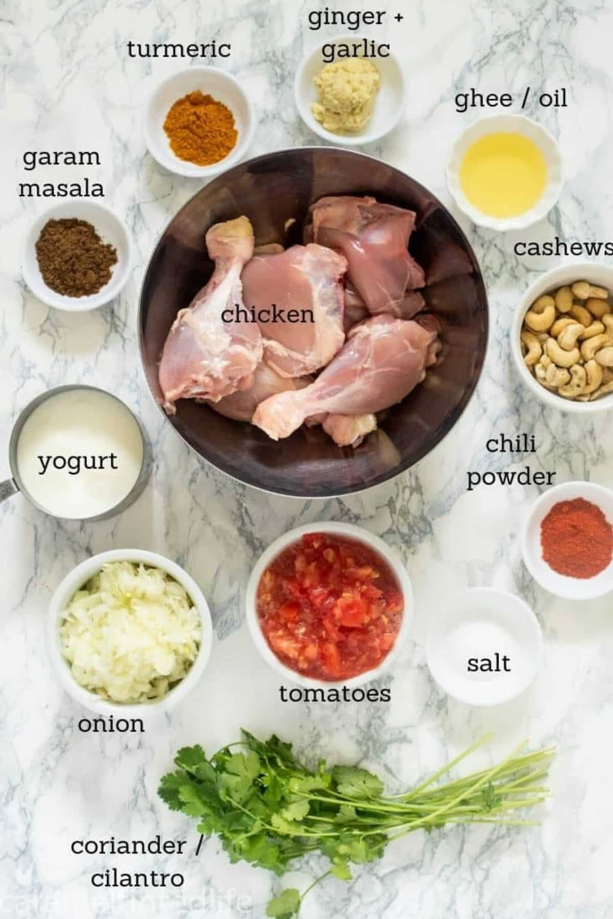 All the ingredients used to make chuîcken curry in the Instant Pot