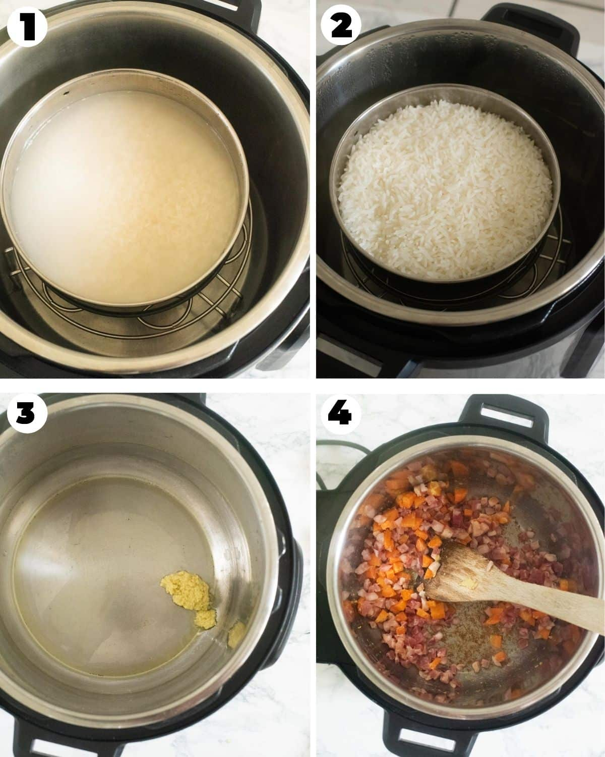 Steps showing cooking Jasmine rice in the Instant Pot, and sauteeing fried rice add-ins