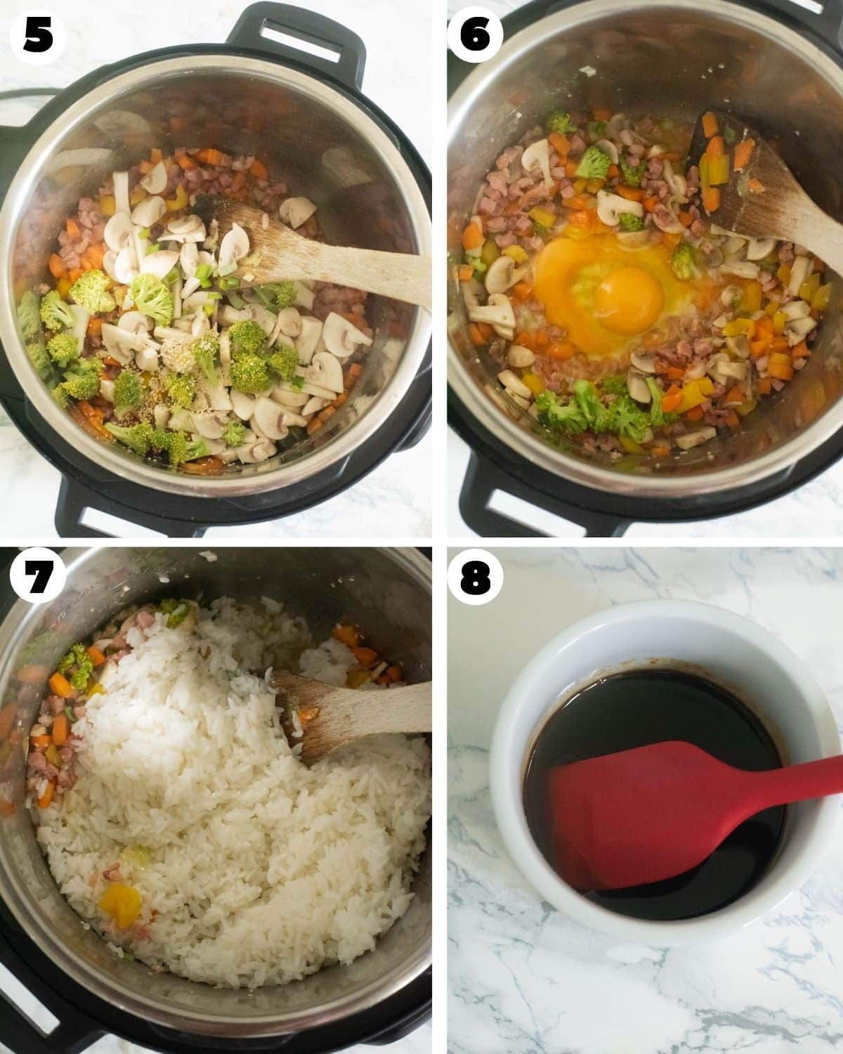 Steps showing eggs, cooked rice and sauce added into the sauteed add-ins in the Instant Pot
