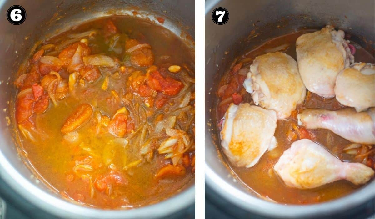 Collage os images showing browned chicken added to a sauce in the Instant Pot