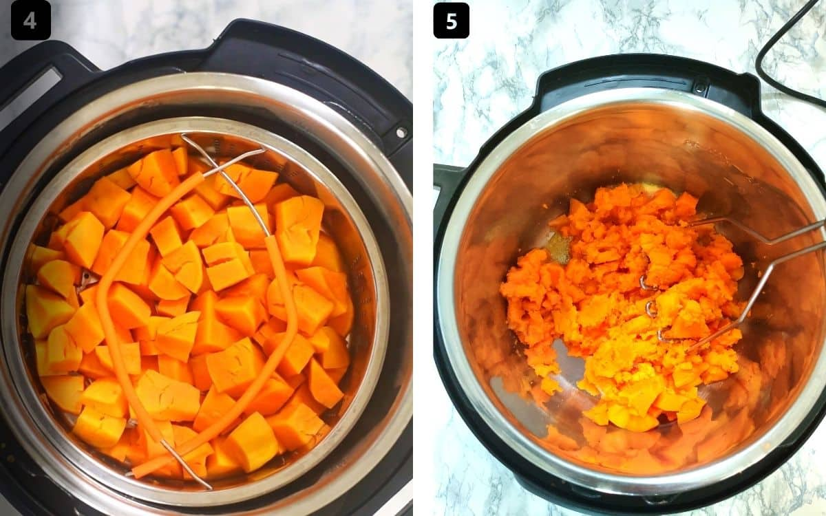 Collage of images showing cooked sweet potatoes being mashed in an Instant Pot
