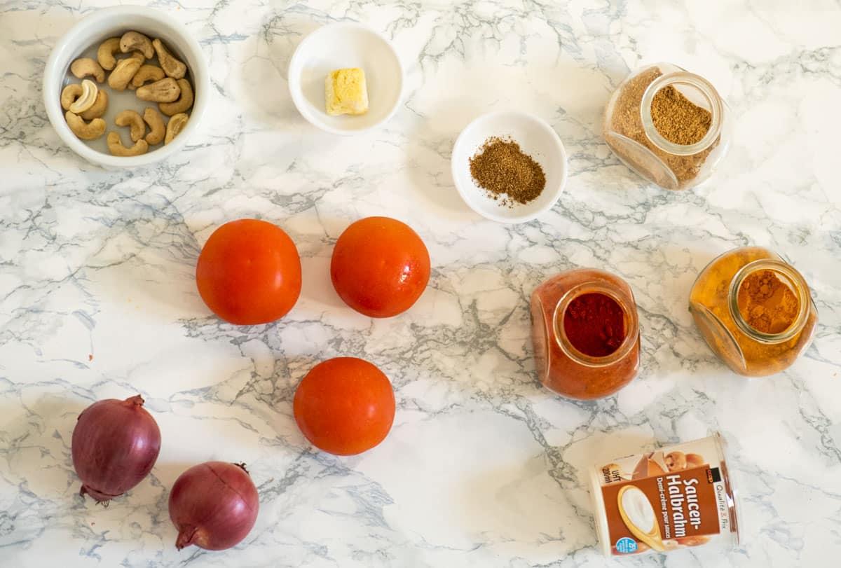 Ingredients used for malai kofta sauce