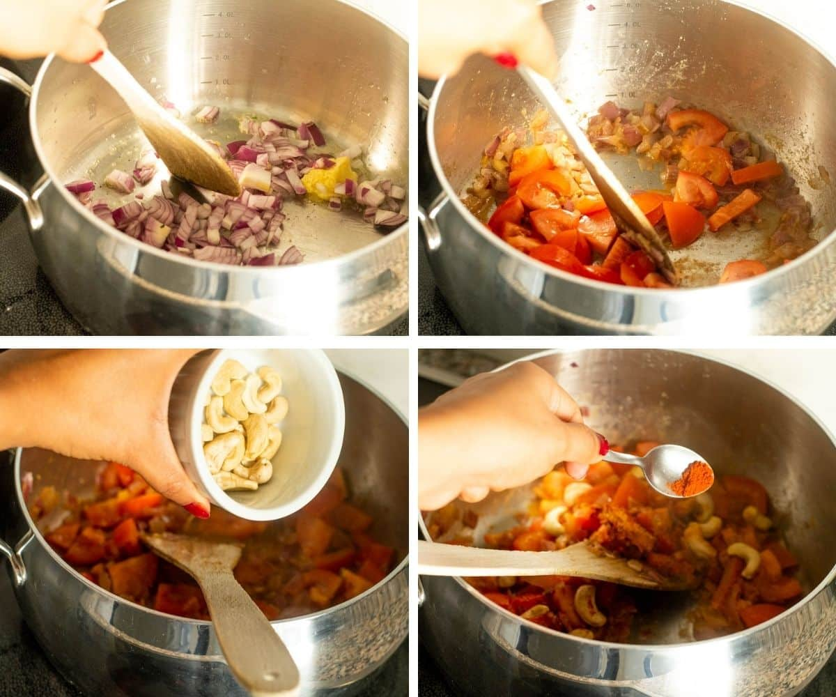 Collage of steps showing showing onions sauteeing with tomatoes, cashews and spices
