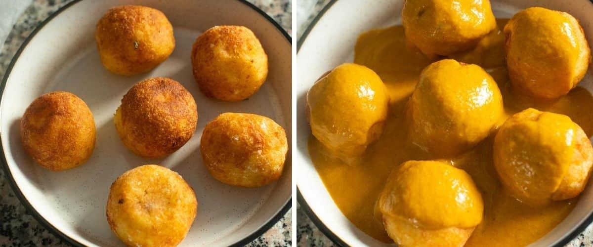 Assembling the malai kofta in a bowl