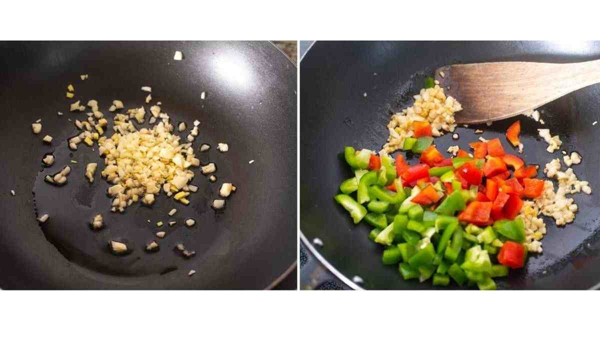 Collage of images showing addition of garlic and vegetables to a hot wok