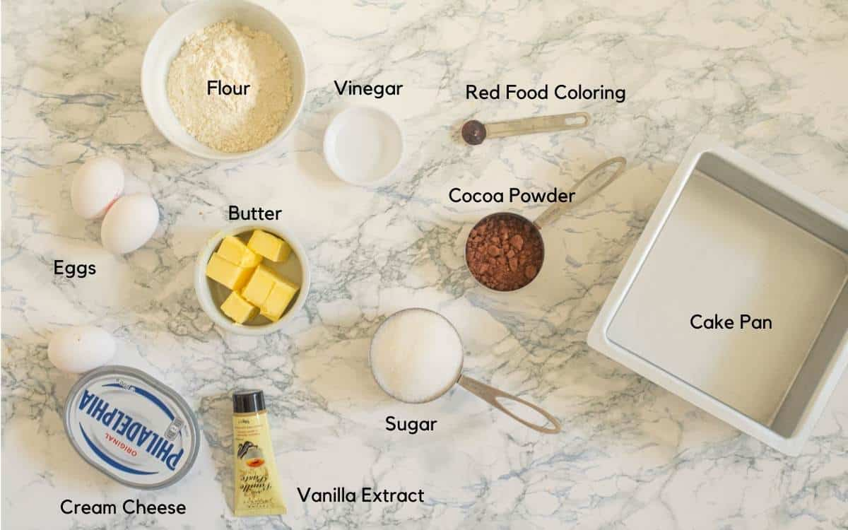All the ingredients used to make red velvet cheesecake swirl brownies