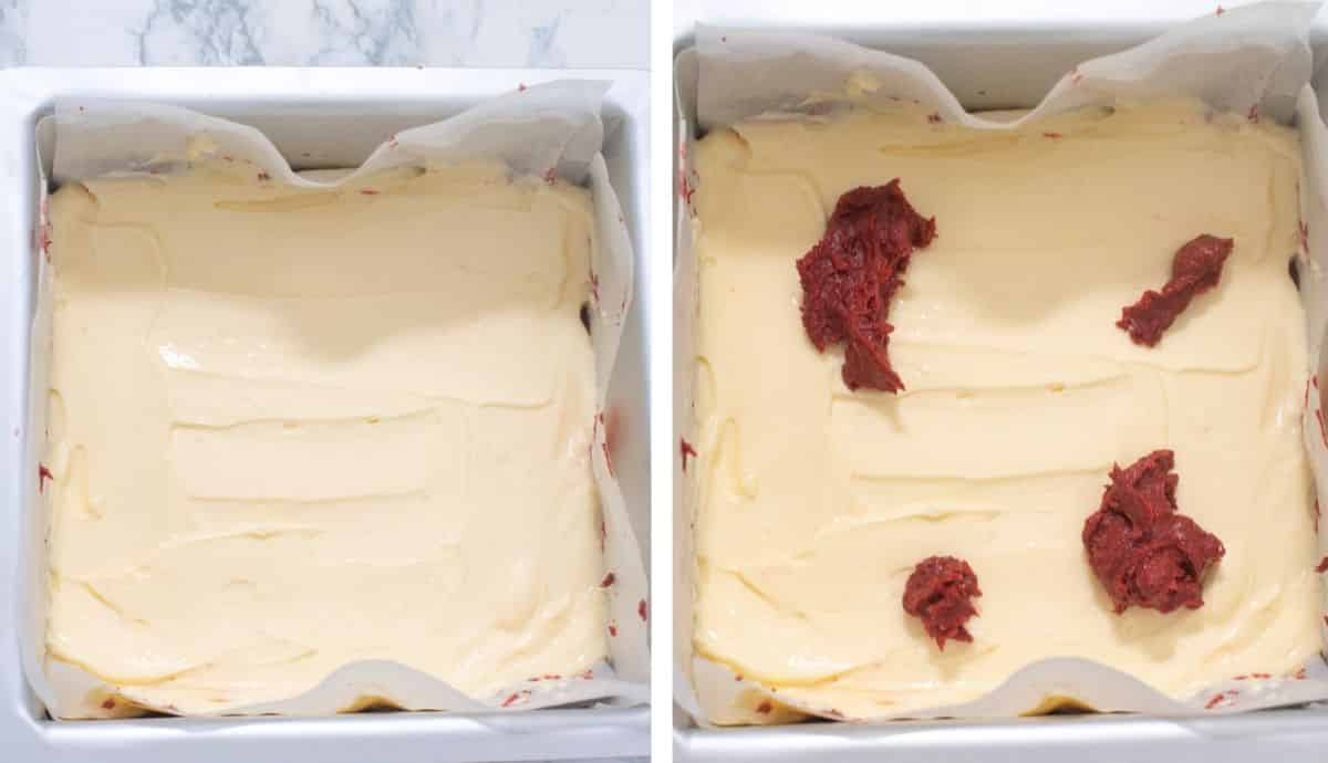 Collage of images showing the addition of cheesecake layer on red velvet batter in a cake pan