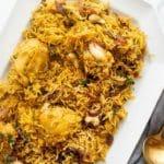 Pinterest pinnable image for chicken biryani