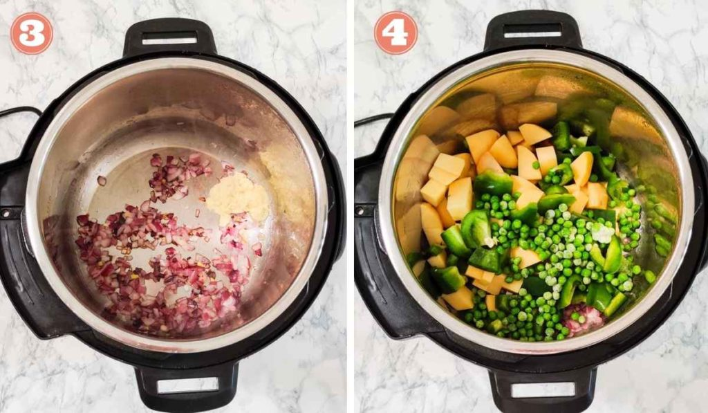 Collage showing vegetables added to sauteed onions in Instant Pot