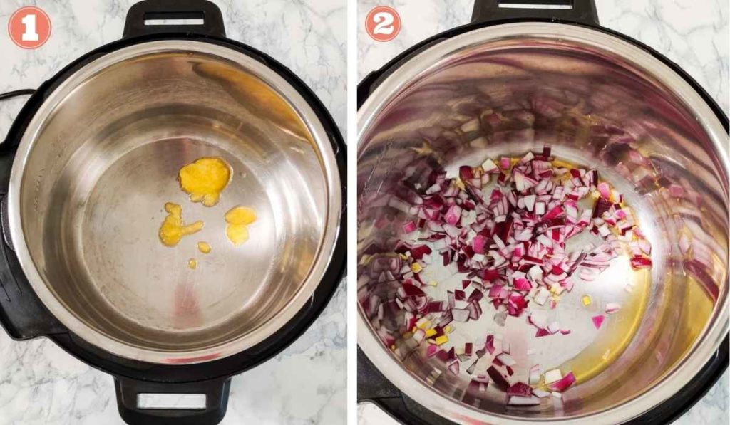Collage showing onions sauteeing in an Instant Pot