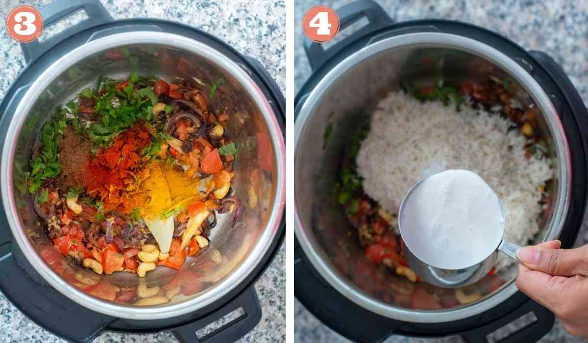 Collage showing shrimp biryani being made in an Instant Pot