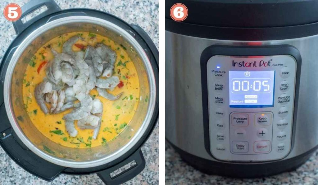 Collage showing shrimp biryani cooking an the Instant Pot