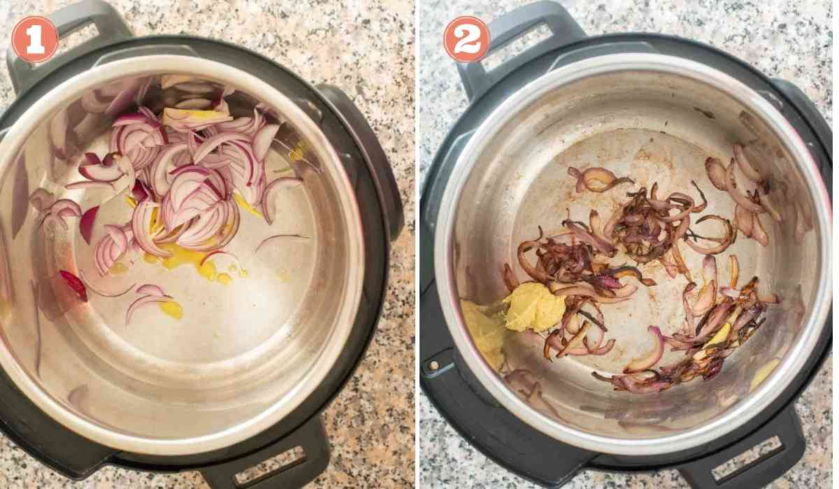 Collage showing onions and ginger garlic paste sauteed in an Instant Pot