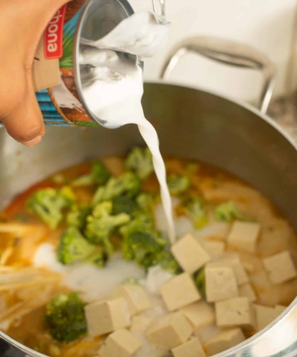 A hand pouring a can of coconut milk into a pot of noodle soup