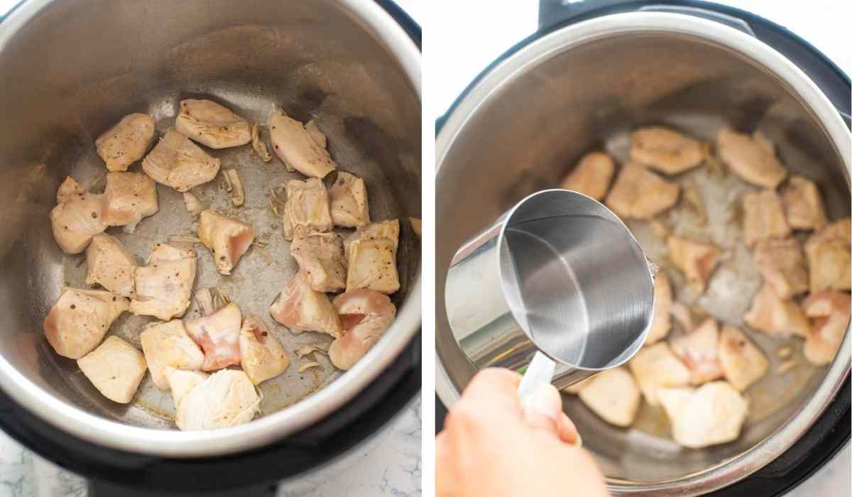 Collage of images showing deglazing the browned chicken in a Instant Pot
