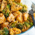 Close-up of chicken and Broccoli with sesame seed garnish