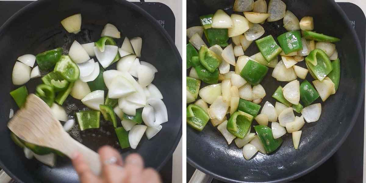 Collage of images showing the sauteeing of bell peppers and onions