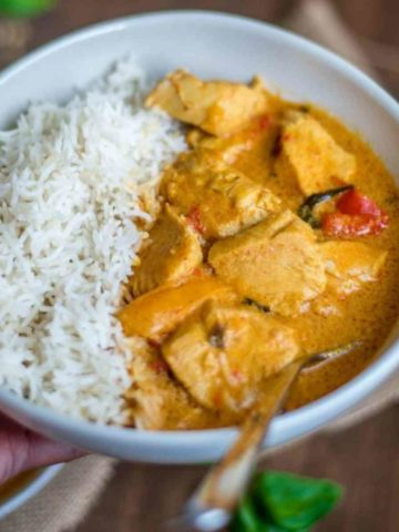 bowl of rice with thai chicken curry