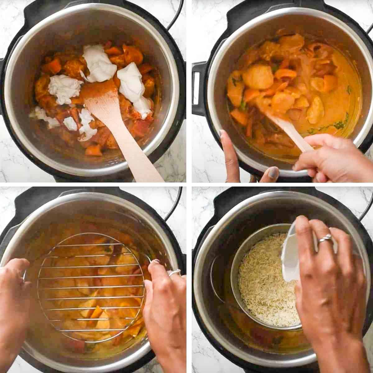 Collage showing steps for making rice and chicken curry in the Instant Pot