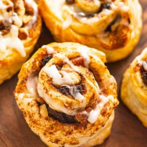 Close-up of a puff pastry cinnamon roll
